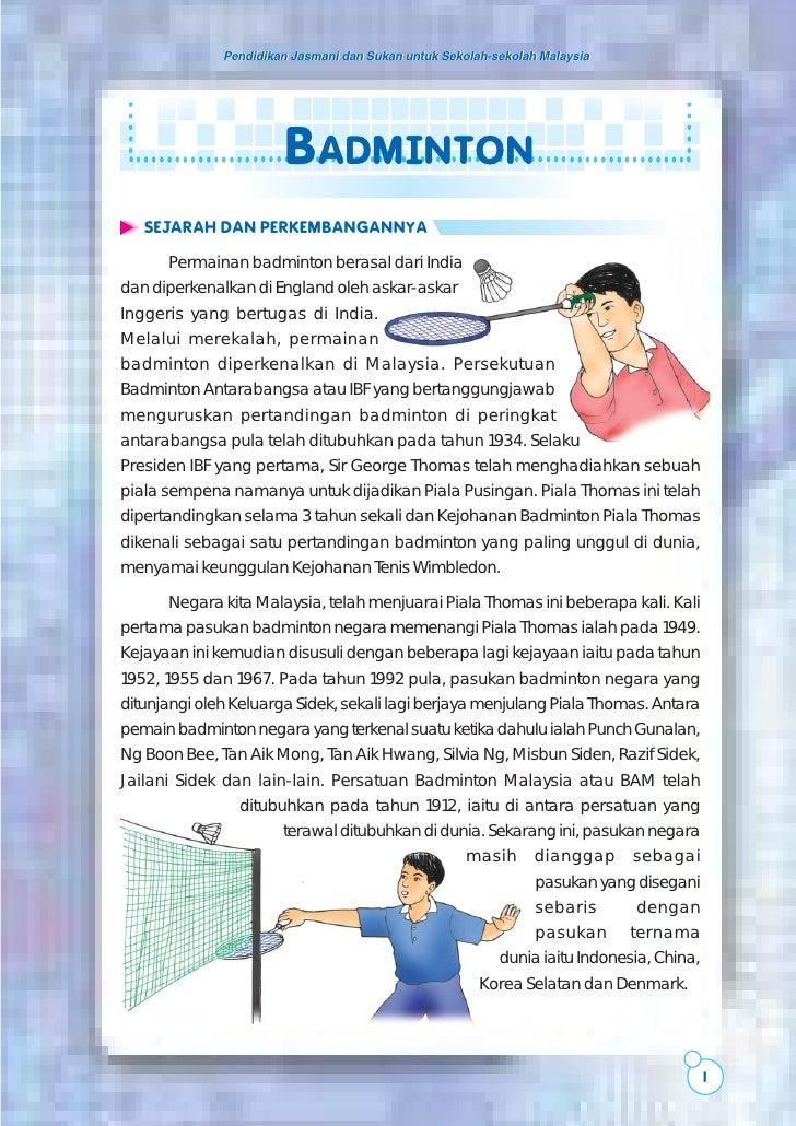 Pendidikan Jasmani dan Sukan untuk Sekolah-sekolah Malaysia                       BADMINTON   SEJARAH DAN PERKEMBANGANNYA ...