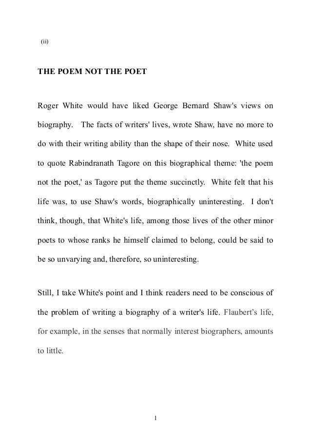 The Poem Not the Poet: Revised