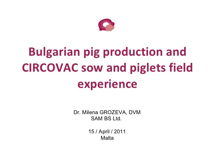 Bulgarian pig production and CIRCOVAC sow and piglets field experience Dr. Milena GROZEVA, DVM SAM BS Ltd.  15 / April / 2...