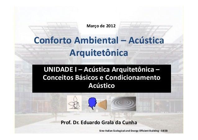 Sino-Italian Ecological and Energy Efficient Building - SIEEB Conforto Ambiental – Acústica Arquitetônica UNIDADE I – Acús...
