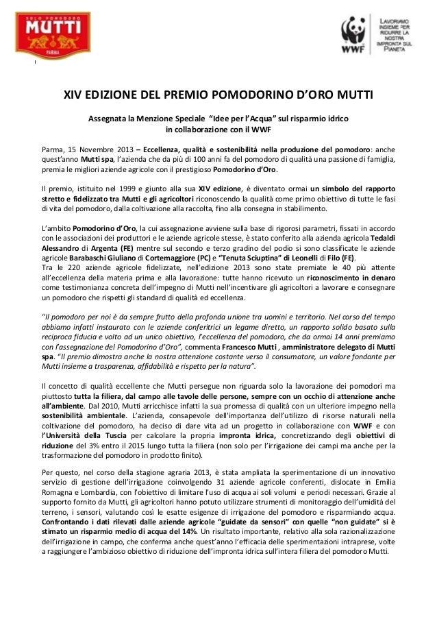 WWF Italia : un premio al pomodoro sostenibile