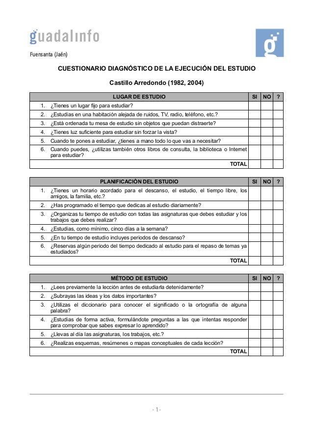 Fuensanta (Jaén) CUESTIONARIO DIAGNÓSTICO DE LA EJECUCIÓN DEL ESTUDIO Castillo Arredondo (1982, 2004) LUGAR DE ESTUDIO  SI...