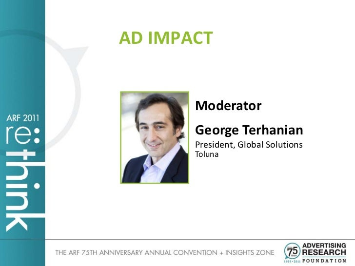 AD IMPACT       Moderator       George Terhanian       President, Global Solutions       Toluna