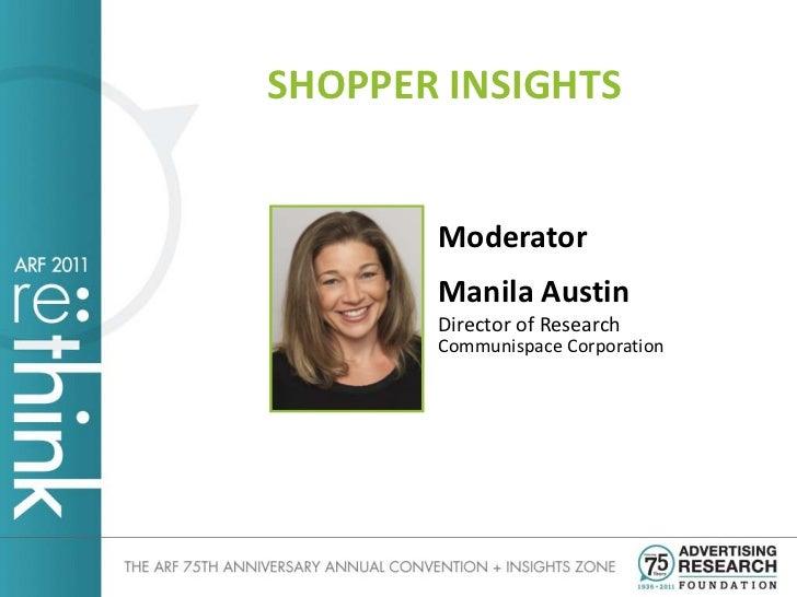 SHOPPER INSIGHTS       Moderator       Manila Austin       Director of Research       Communispace Corporation