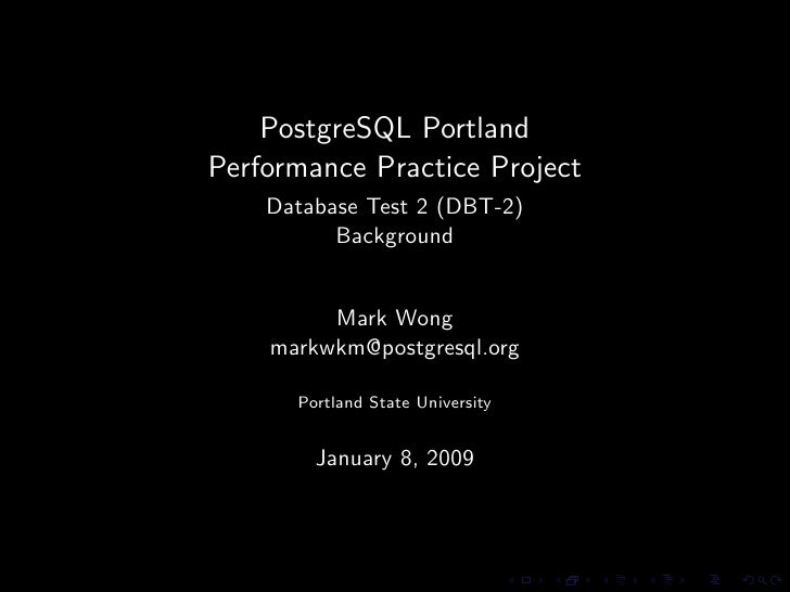 PostgreSQL Portland Performance Practice Project - Database Test 2 Background