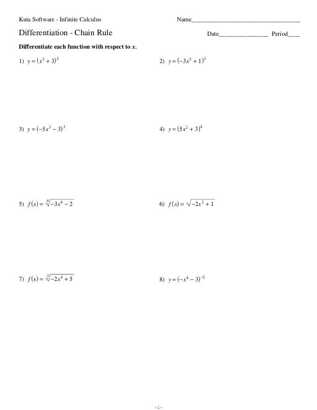 Calculus Worksheet Chain Rule Practice 1 Worksheet Printable Blog – Calculus Worksheets