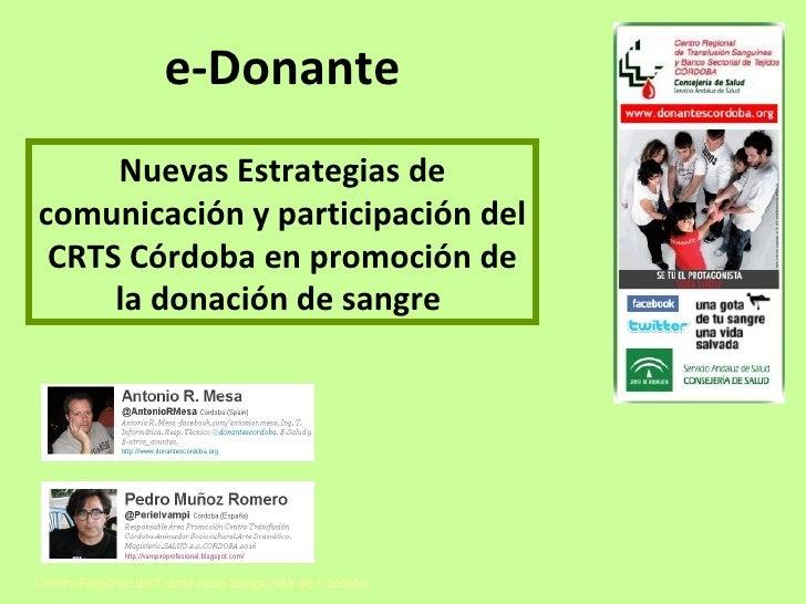 e-Donante del Centro Regional de Transfusión Sanguínea (CRTS), de Córdoba