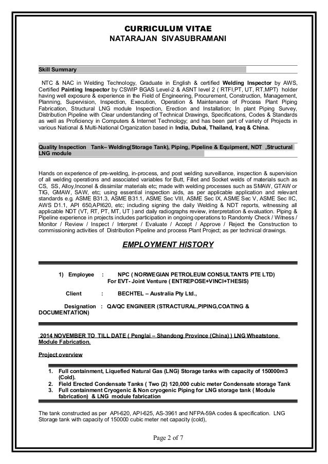Resume Natarajan Sivasubramani