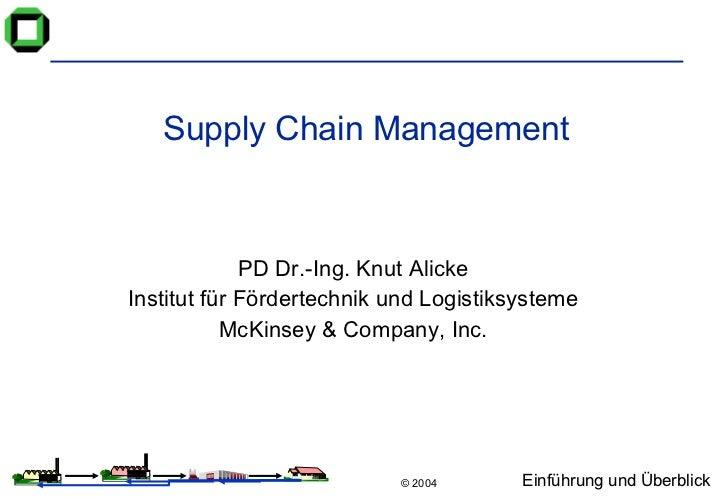 Supply Chain Management PD Dr.-Ing. Knut Alicke Institut für Fördertechnik und Logistiksysteme McKinsey & Company, Inc.