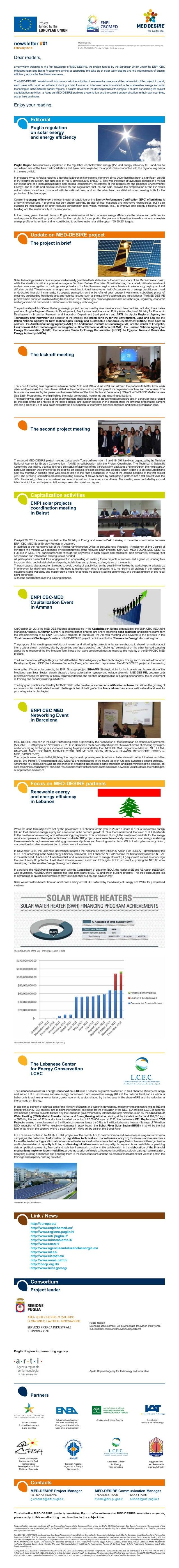 newsletter #01 February 2014 MED-DESIRE MEDiterranean DEvelopment of Support schemes for solar Initiatives and Renewable E...