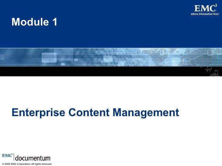 Module 1 Enterprise Content Management