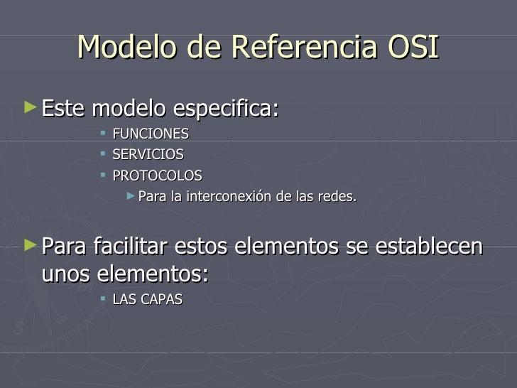 Modelo de Referencia OSI <ul><li>Este modelo especifica: </li></ul><ul><ul><ul><ul><li>FUNCIONES </li></ul></ul></ul></ul>...