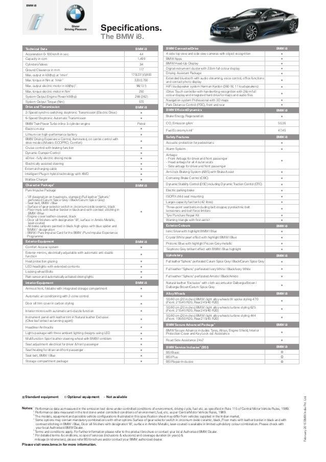 Bmw I8 Spec Sheet For India