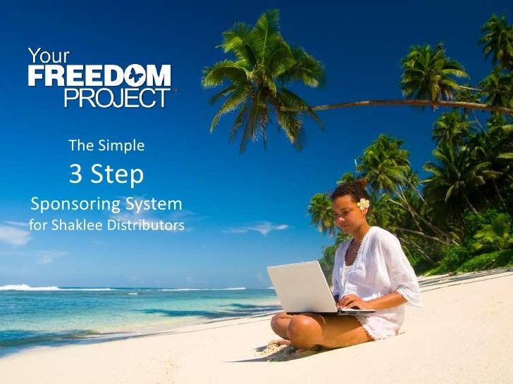 The Simple      3 StepSponsoring Systemfor Shaklee Distributors
