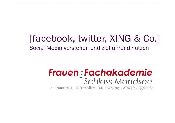 [facebook, twitter, XING & Co.]Social Media verstehen und zielführend nutzen       21. Januar 2011, Heidrun Allert | Kiel/...