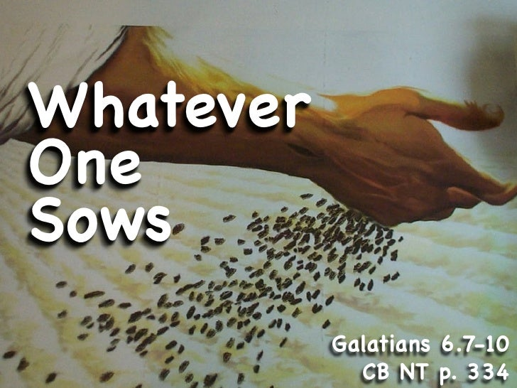 Whatever One Sows            Galatians 6.7-10              CB NT p. 334