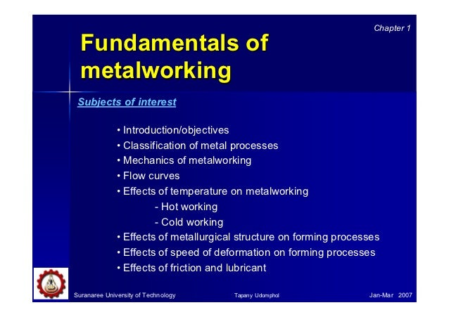 Chapter 1  Fundamentals of  metalworking Subjects of interest              • Introduction/objectives              • Classi...