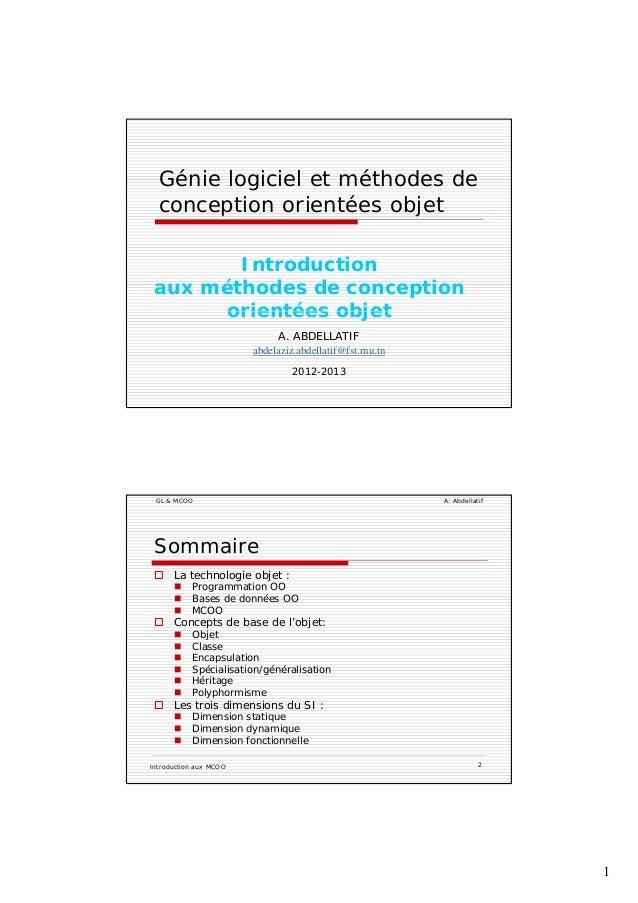 1 Génie logiciel et méthodes de conception orientées objetp j Introduction aux méthodes de conception orientées objet A. A...