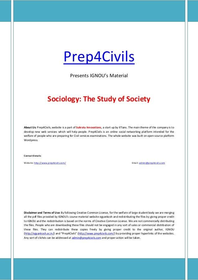 IGNOU BA SOCIOLOGY STUDY MATERIAL, BOOKS FREE …