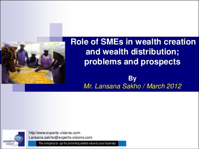 Role of SMEs in wealth creation                                 and wealth distribution;                                 p...