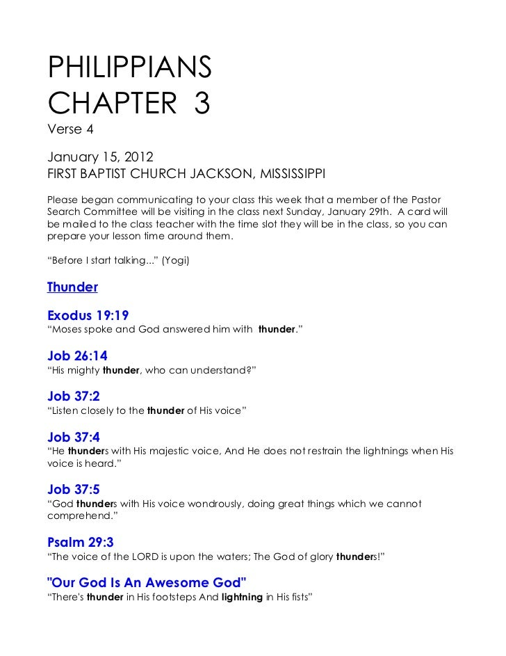 PHILIPPIANSCHAPTER 3Verse 4January 15, 2012FIRST BAPTIST CHURCH JACKSON, MISSISSIPPIPlease began communicating to your cla...