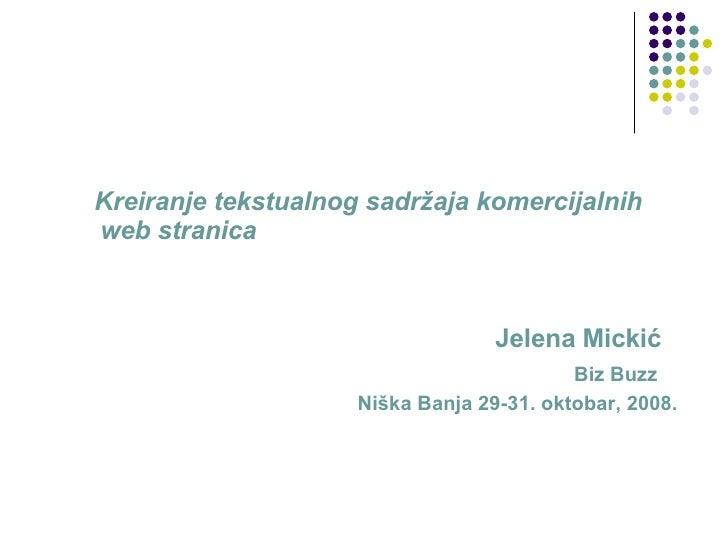 Jelena Mickić - Kreiranje tekstualnog sadržaja komercijalnih webstranica