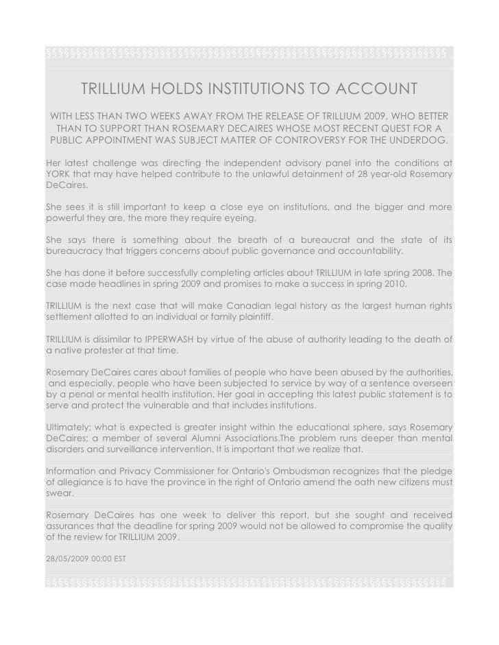TRILLIUM REPORT 2009 [Article]