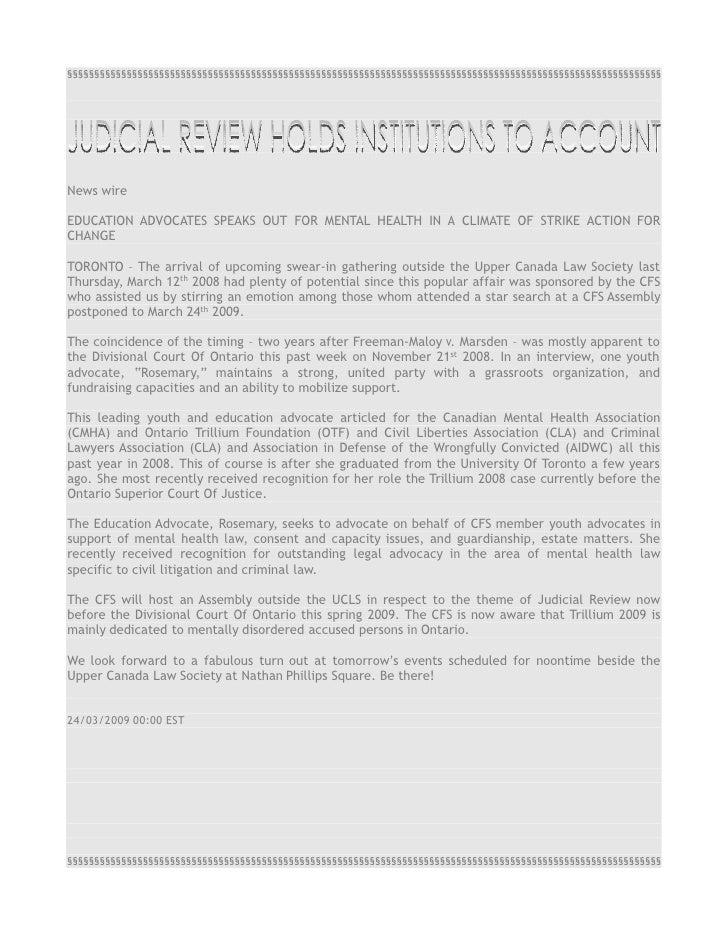 JUDICIAL REVIEW REPORT 2009 [Article]