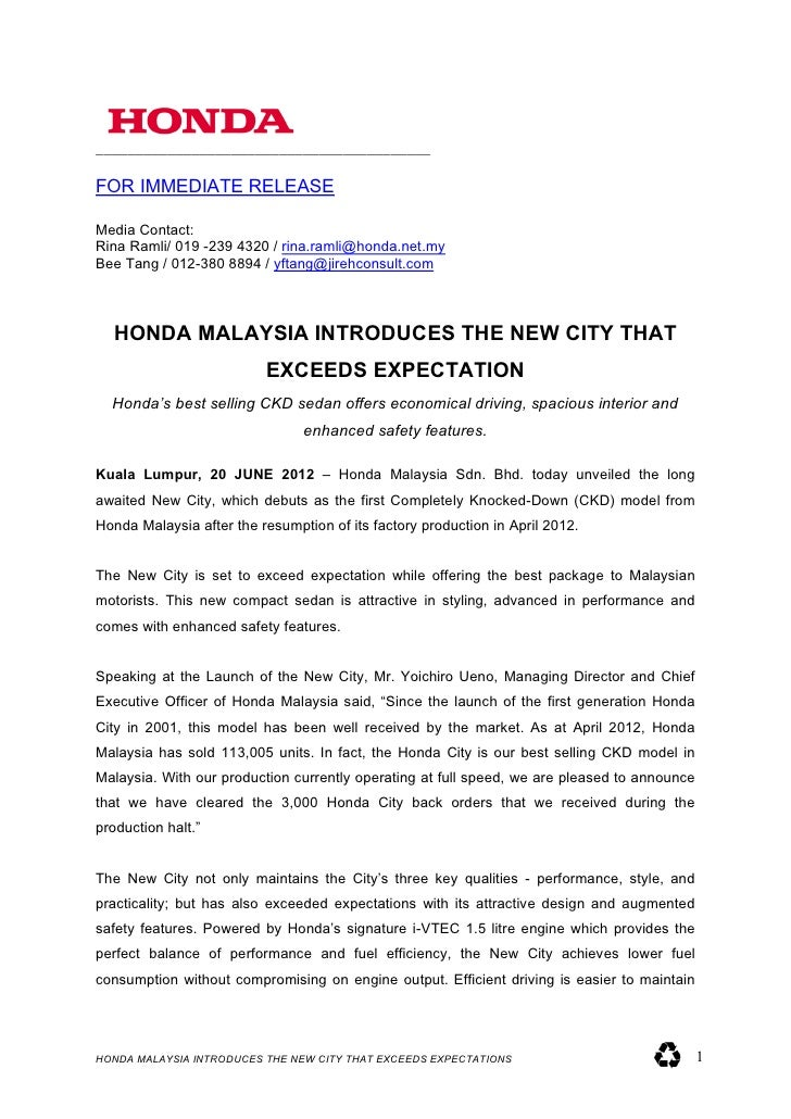 honda city minor model change malaysian launch press release