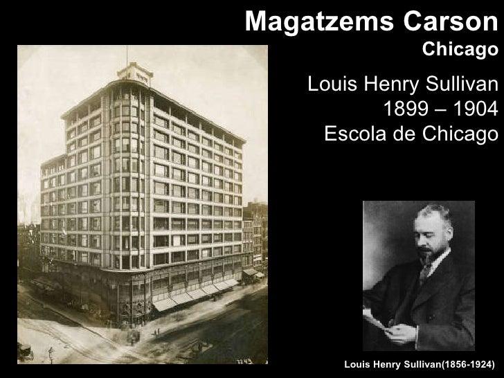 Magatzems Carson Chicago Louis Henry Sullivan 1899 – 1904 Escola de Chicago Louis Henry Sullivan(1856-1924)