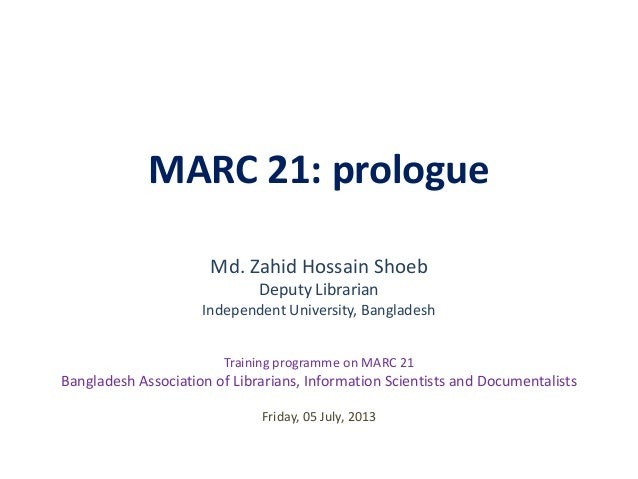 MARC 21: prologue (BALID Training programme on Marc 21)