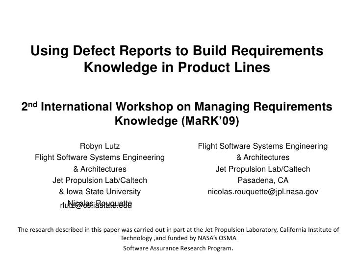 Using Defect Reports to Build Requirements Knowledge in Product Lines2nd International Workshop on Managing Requirements K...