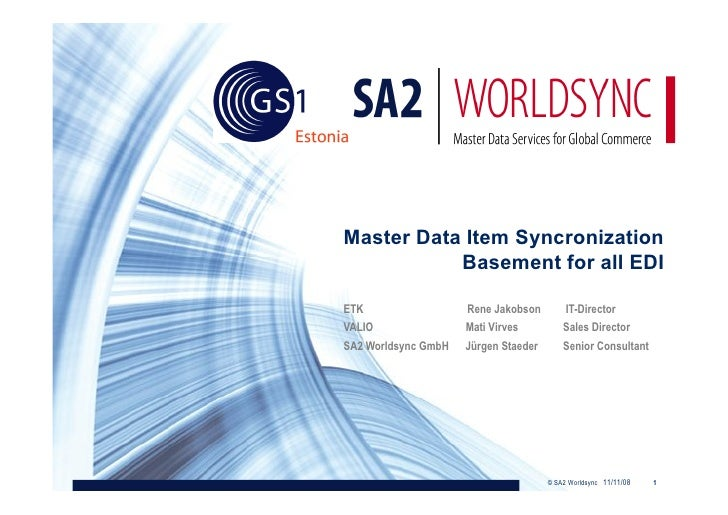 Master Data Item Syncronization            Basement for all EDI  ETK                  Rene Jakobson         IT-Director VA...