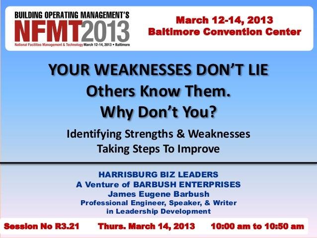 LEADERSHIP - NFMT 2013 Strengths & Weaknesses