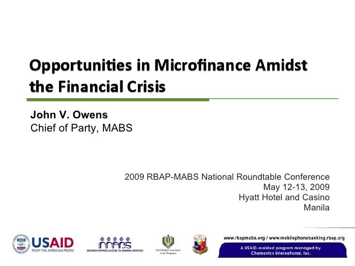Opportunities In Microfinance Amidst the Financial Crisis
