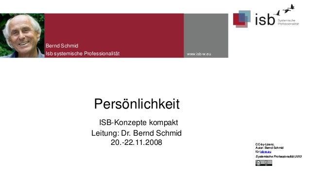 Bernd Schmid Isb systemische Professionalität  www.isb-w.eu  Persönlichkeit ISB-Konzepte kompakt Leitung: Dr. Bernd Schmid...