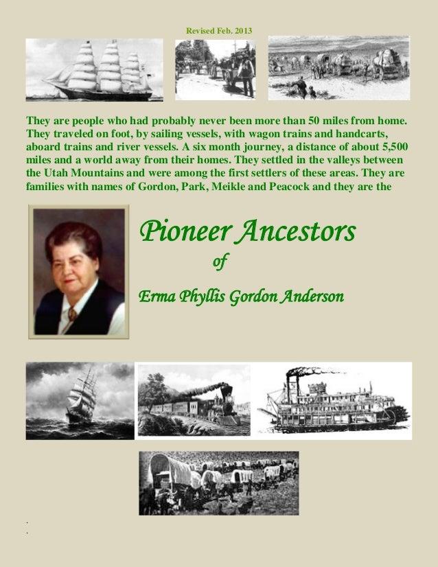 Pioneer Ancestors of Erma P Gordon Anderson