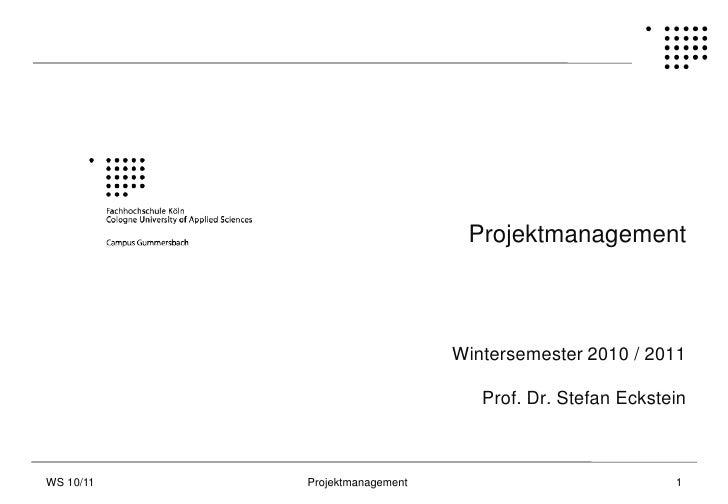 Projektmanagement                                   Wintersemester 2010 / 2011                                    Prof. Dr...