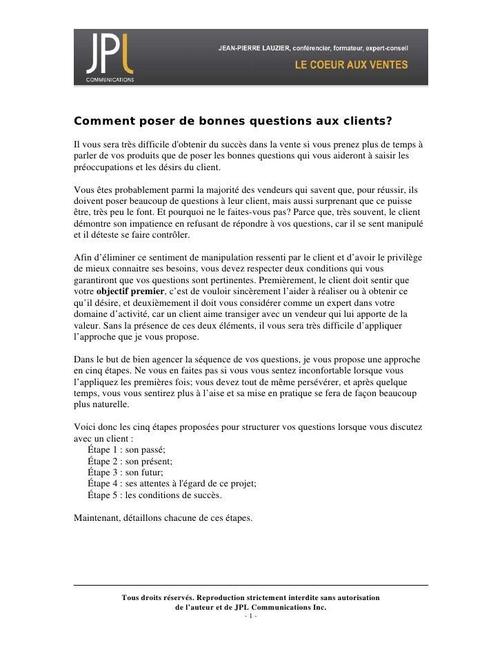 01 Poser De Bonnes Questions