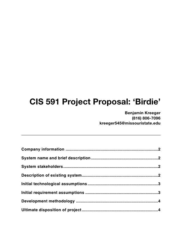 CIS 591 Project Proposal: 'Birdie'                                                                     Benjamin Kreeger   ...