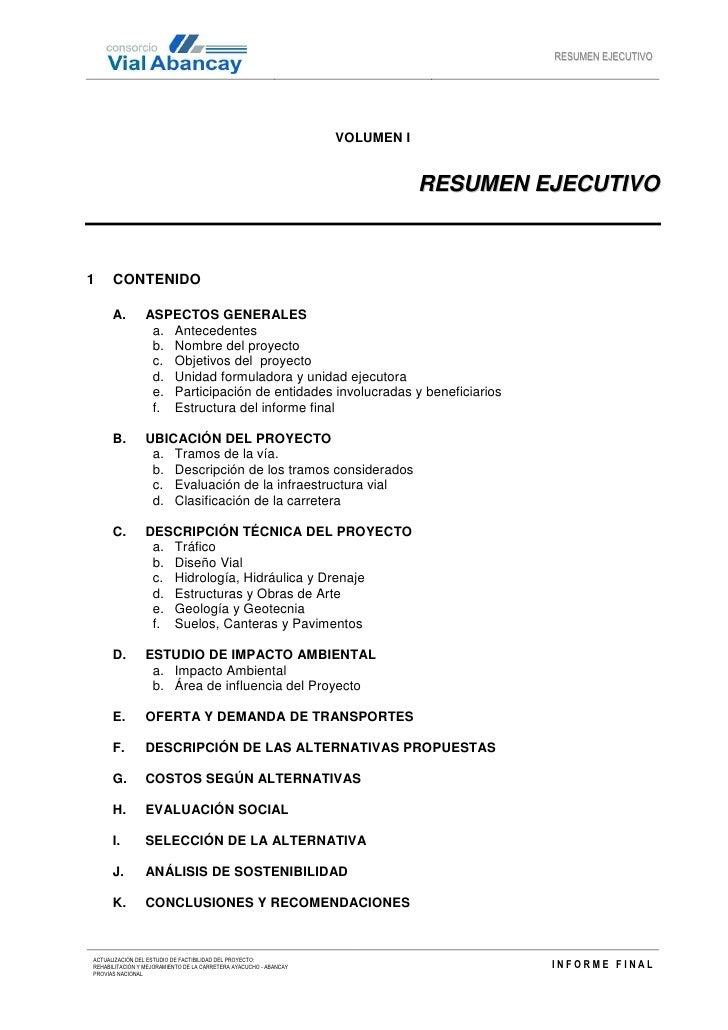 Información Carretera Ayacucho - Abancay - Resumen Ejecutivo