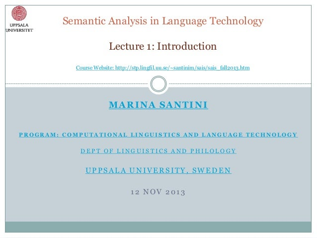 Lecture 1: Semantic Analysis in Language Technology