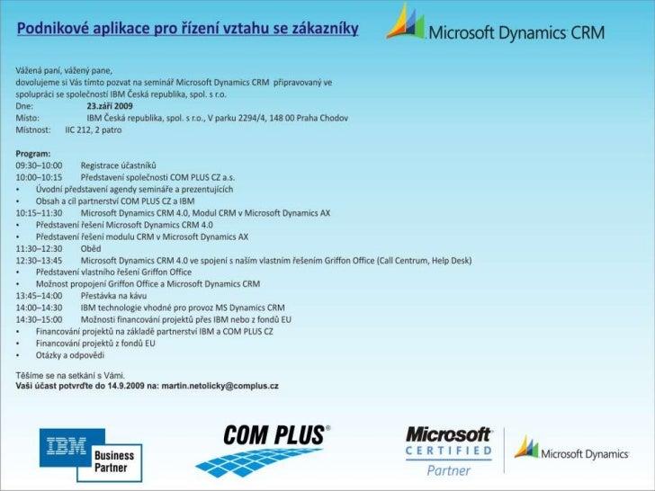 Podnikové aplikace pro řízení vztahů se zákazníky [2009-09-23]