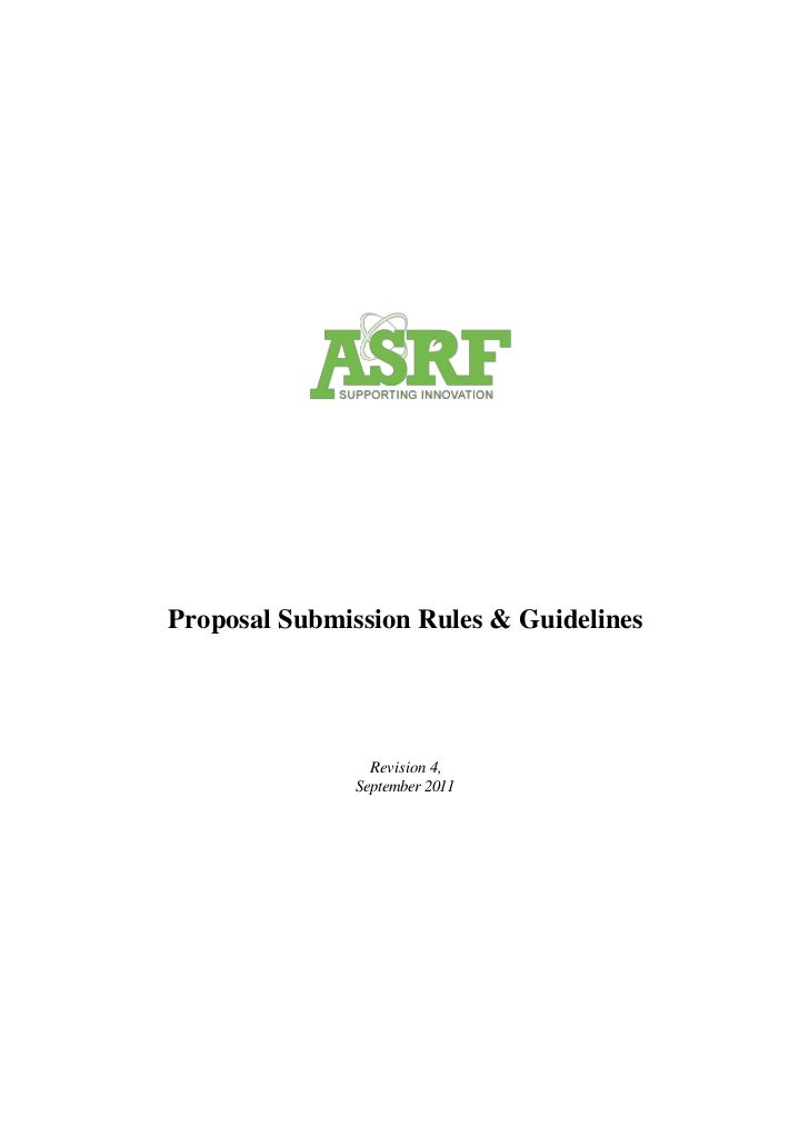 Proposal Submission Rules & Guidelines                 Revision 4,               September 2011