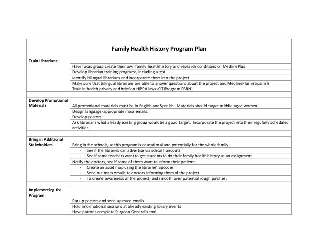 Family Health History Program PlanTrain Librarians                       Have focus group create their own family health h...