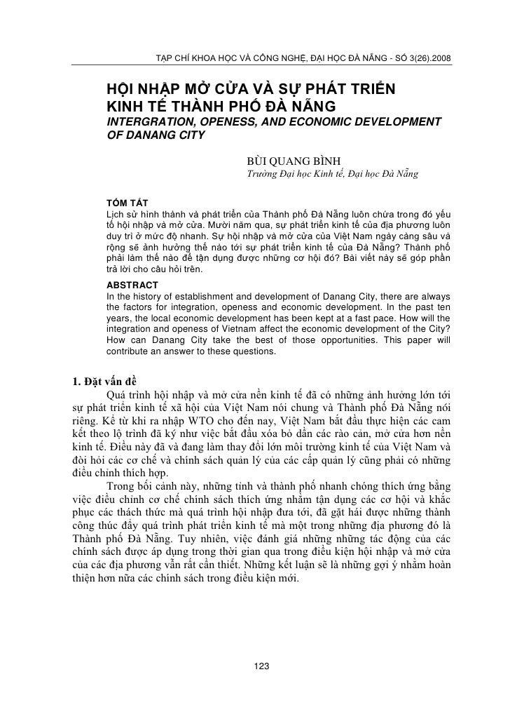 TẠP CHÍ KHOA HỌC VÀ CÔNG NGHỆ, ĐẠI HỌC ĐÀ NẴNG - SỐ 3(26).2008       HỘI NHẬP MỞ CỬA VÀ SỰ PHÁT TRIỂN       KINH TẾ THÀNH ...