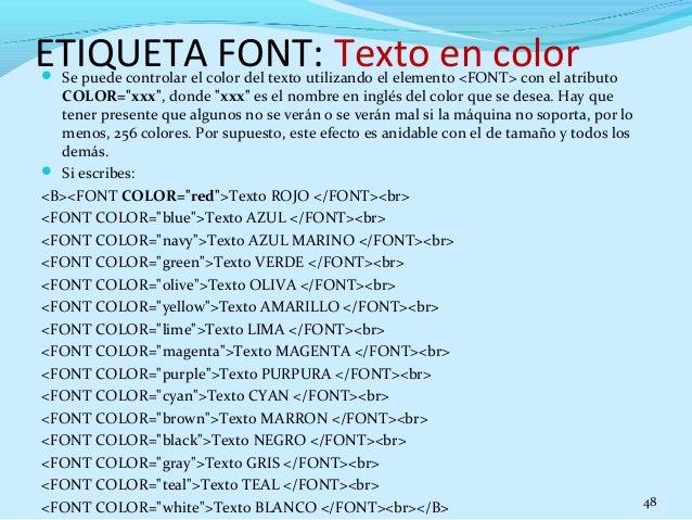 Etiquetas Color Html Etiqueta Font Texto en Color