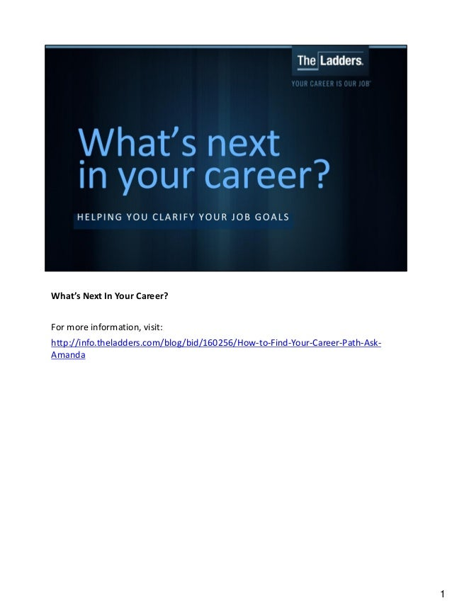What's Next In Your Career? For more information, visit: http://info.theladders.com/blog/bid/160256/How-to-Find-Your-Caree...