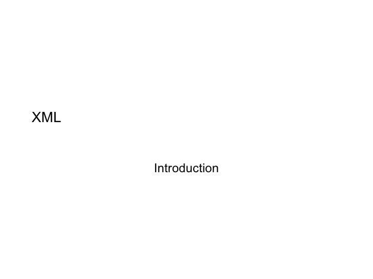XML Introduction
