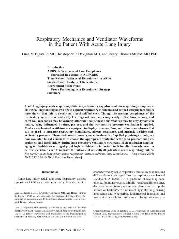 Respiratory Mechanics and Ventilator Waveforms                          in the Patient With Acute Lung Injury       Luca M...